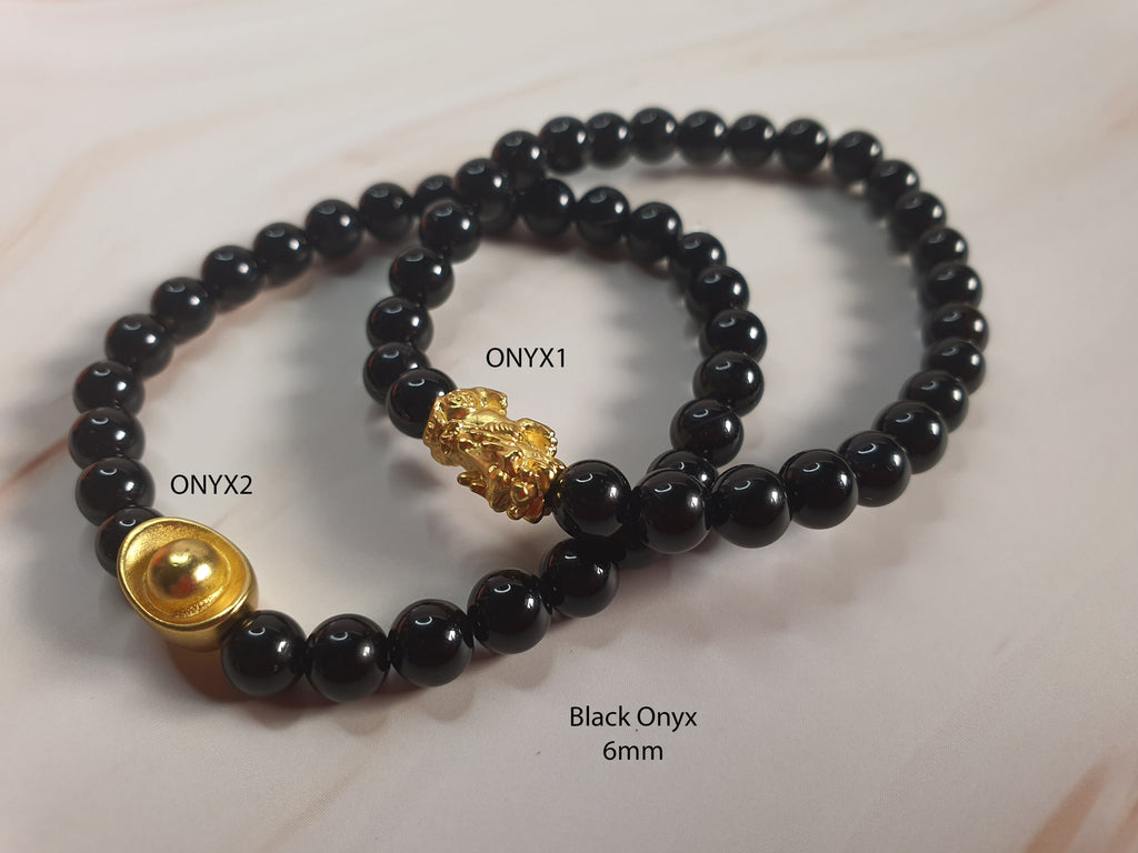 Minimalist Natural Black Onyx Semi Precious Stone with Gold Plated Lucky Charms