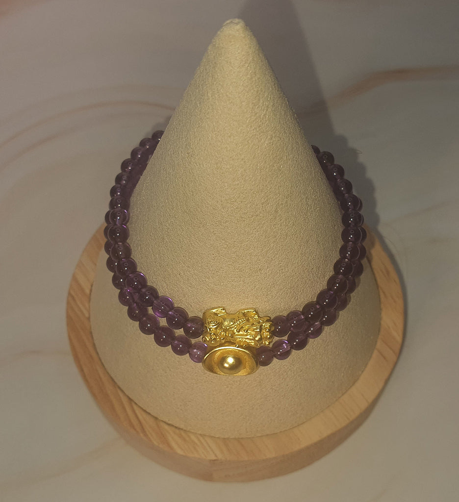 Minimalist Natural Purple Beads Amethyst Semi Precious Stone with Gold Plated Lucky Charms