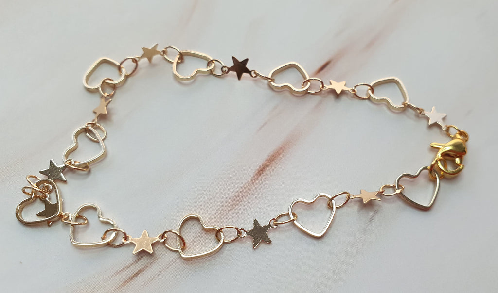 14k Gold Plated Hearts and Stars 5 chain Bracelet