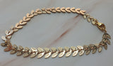 14k Gold Plated Willow Leaf 2 chain Bracelet