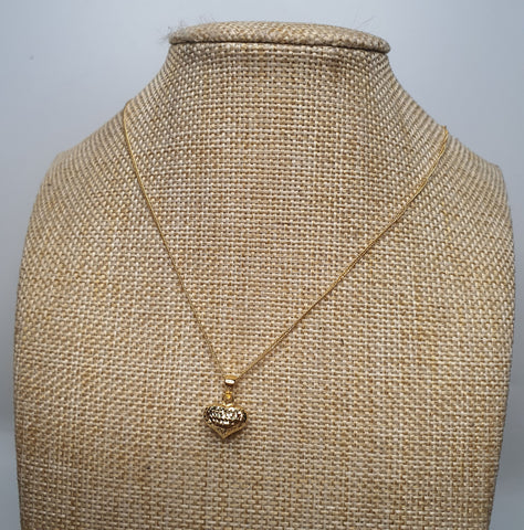 Heart 2 Pendant with 18 inches Gold Necklace