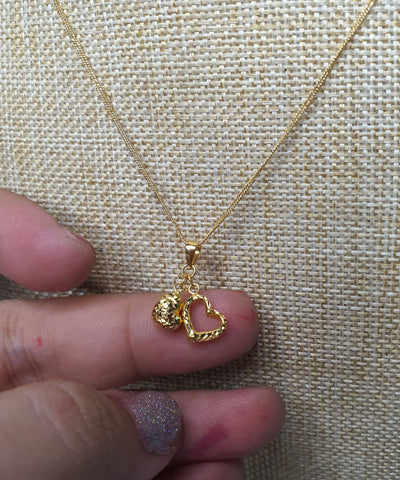 2 Hearts Pendant with 18 inches Gold Necklace