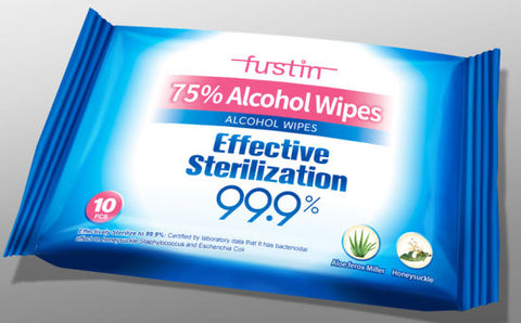 Fustin 75% Alcohol Wipes 99.9% 10 sheets
