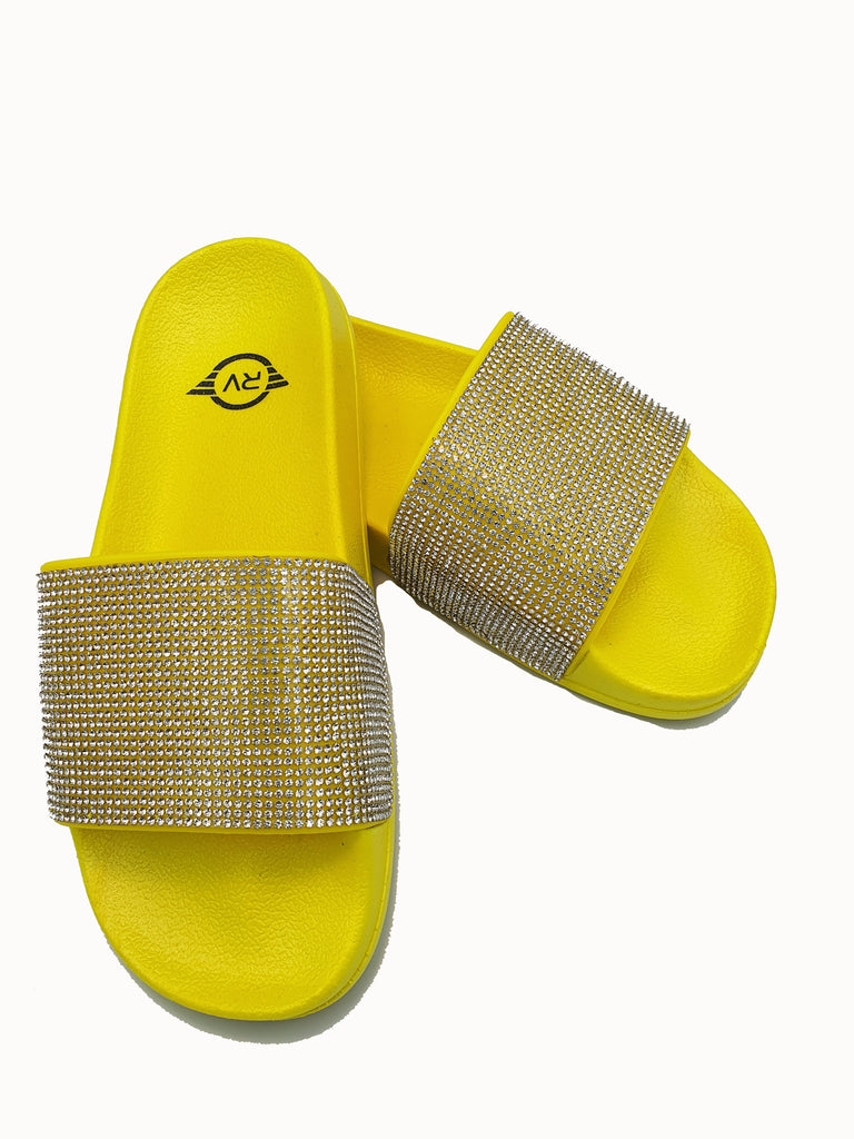 Neon Yellow Sole White Rhinestone Slides