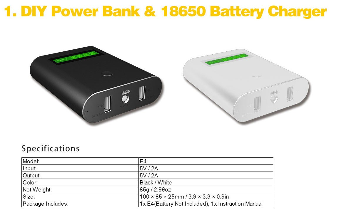 Epilot E4 4 In 1 18650 Battery Charger With Lcd Display Dual Usb Batre Vapor 2 Slot Non Kabel