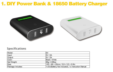 Epilot E4 4-IN-1 18650 Battery Charger with LCD Display, Dual USB Ports DIY Power Bank with LED Flashlight for iPhone, iPad, Samsung Galaxy, Tablet & Vape Battery