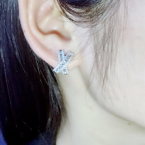 Platinum Plated Bowknot Shine 3A Zircon Earrings