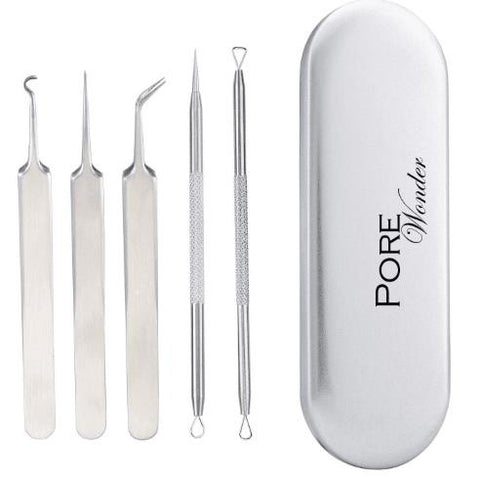 Wonder Pore 5 in 1 Comedone Extractor Tool Set Premium Blackhead Removal Kit
