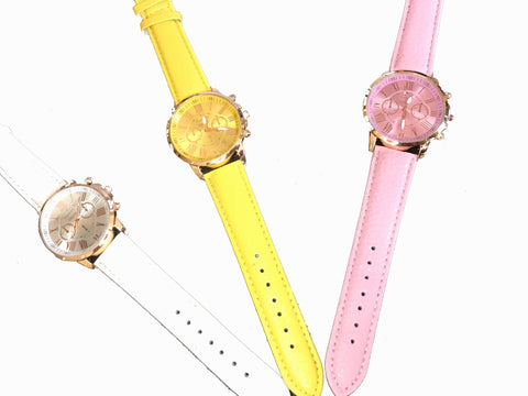 PU Leather Strap Running Vogue Analog Wrist Watch
