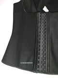 4 BONED BLACK FULL VEST RUBBER WAIST CINCHER
