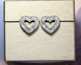 ICAHKYED0377 CZ Earrings Platinum Plated Heart Shape 3A Stud Earring