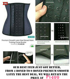 UPGRADED 9 BONED Premium Smooth Latex Steel Boned Waist Training Corset Bustier