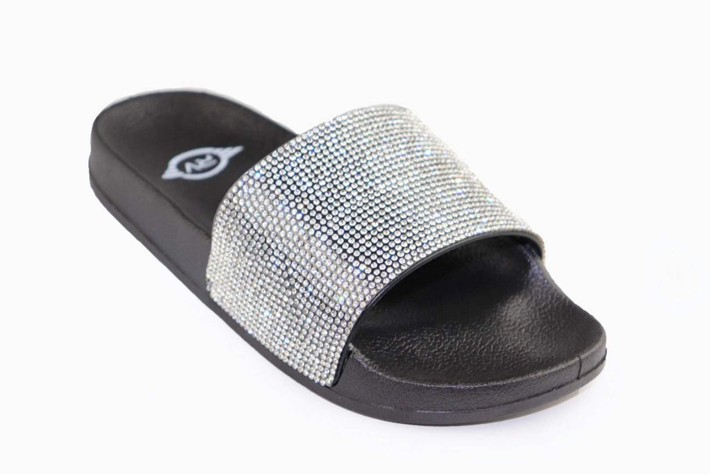 Black Sole White Rhinestone Slides