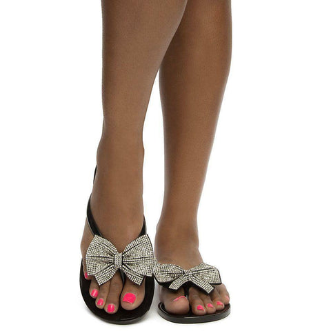 Ribbon Bow Rhinestone Black Jelly Flip Flops