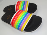 Multicolor White Rainbow Strap Slides