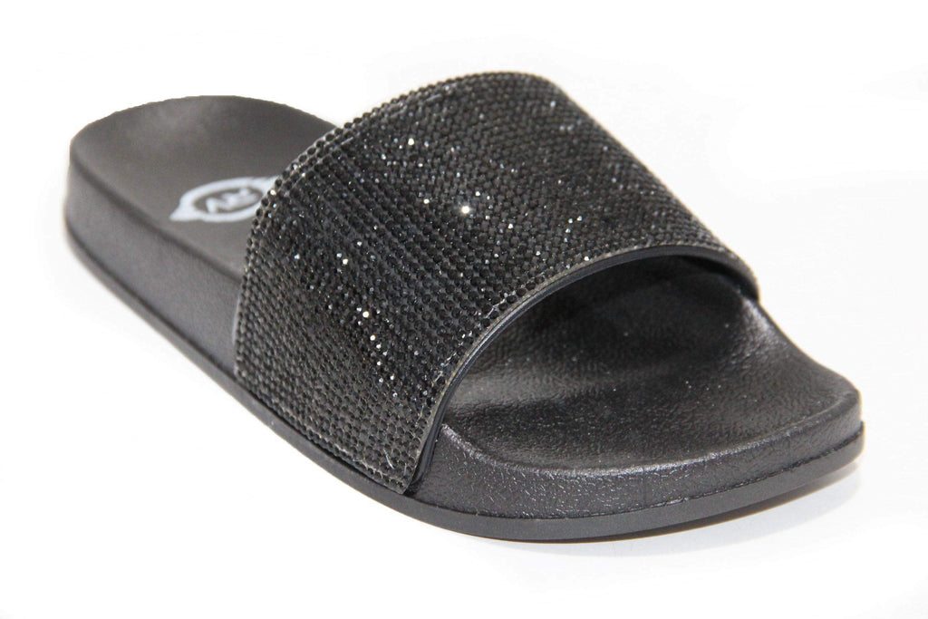 ( ALL BLACK ) Black Sole Black Rhinestone Slides