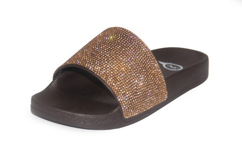 Gold Rhinestone Chocolate Sole Slides