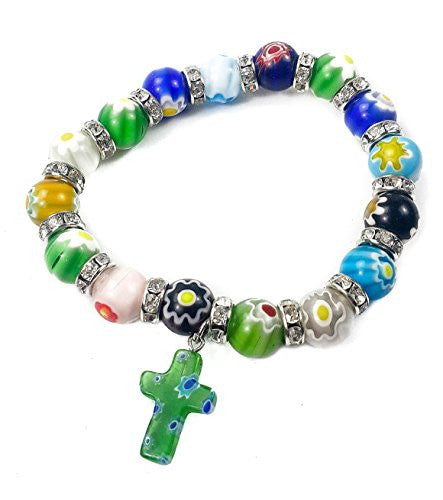 Agate Colorful Flowers Beads Stretchable Bracelet Zircons Crystal & Cross Jerusalem