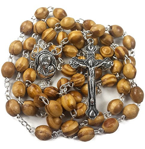 Catholic Prayer Rosary Olive Wood Beads Necklace Holy Soil Medal & Metal Cross Jerusalem