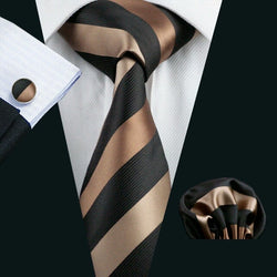 Barry Wang Men`s  Jacquard Woven Classic Silk Tie, Hanky and Cuff-links Set
