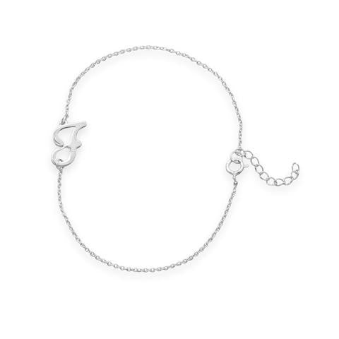 "Rhodium Plated Script ""F"" Bracelet - Jo and Joanne"