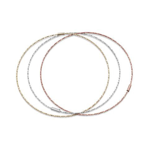 Tri Tone Set of Diamond Cut Bangle Bracelets - Jo and Joanne