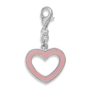 Pink Enamel Heart Charm with Lobster Clasp - Jo and Joanne