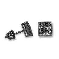 Black Rhodium Plated Pave CZ Earrings