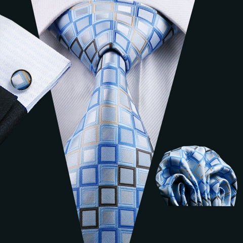 Blue Novelty 100% Silk Fashion Necktie Hanky Cufflinks Set