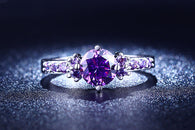 White Gold  and Purple AAA Zircon  Engagement Ring
