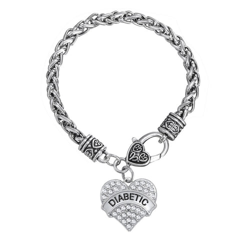 Silver Diabetic Awareness Heart Bracelet - Jo and Joanne