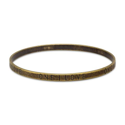 "Oxidized Brass ""ONE I LOVE"" Bangle"