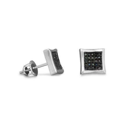 Rhodium Plated Pave Black CZ Earrings