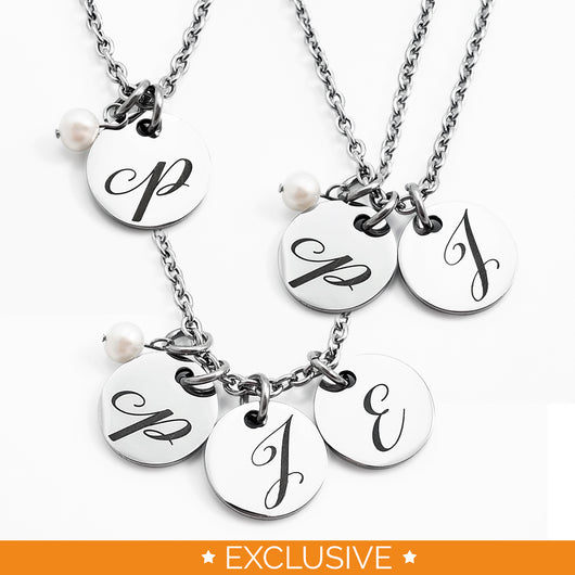 Script Initial & Pearl Necklace {Stainless Steel}