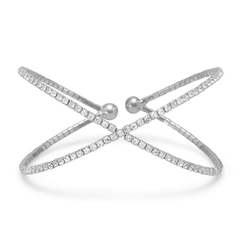 "Silver Tone Criss Cross ""X"" Crystal Fashion Memory Bracelet - Jo and Joanne"