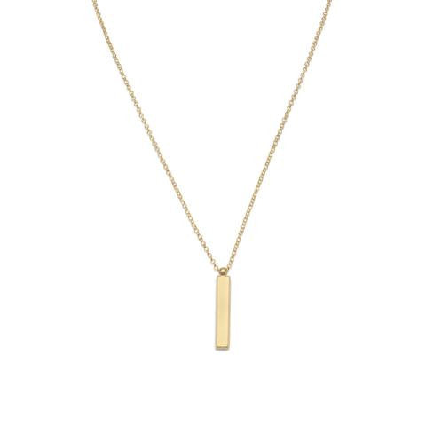 "18"" 14 Karat Gold Plated Drop Bar Necklace - Jo and Joanne"