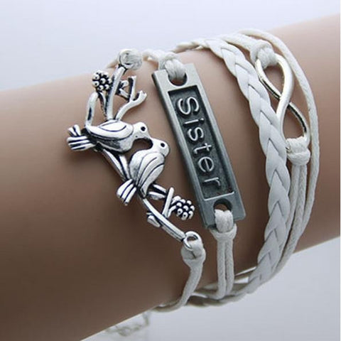 Sisters - White Leather Wrap Infinity Bracelet