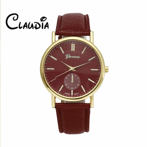 Hot sale CLAUDIA Fashion Geneva Unisex Leather Band Analog Quartz Vogue Wrist Watches FreeShipping high quality Relogio Feminino