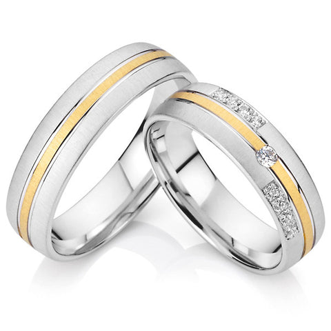 his and hers wedding band - gold and titanium