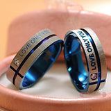 His and Her Wedding rings - Silver and blue wedding bands