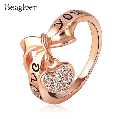Rose Gold Love You Heart Ring