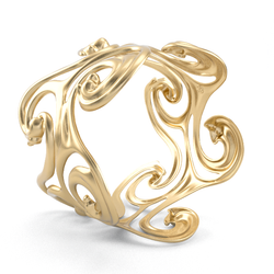 Brass Cuff Bangle - Surf Waves