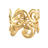 Gold Plated Cuff Bangle - Surf Waves