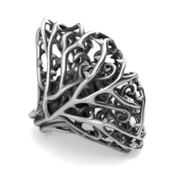 Dangerous Heavy - Large Sterling Silver Rose Ring - Sterling silver Ring - Silver jewelry design - PJ3DArtist's Shop