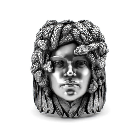 Sterling silver jewelry Ring design - Medusa - Detailed Sterling Silver Ring - PJ3DArtist's Shop