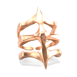 Gold Plated Ring - Two Spikes