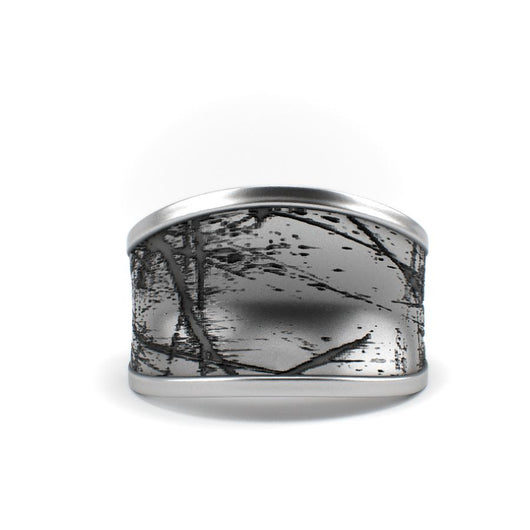 Scratched - Textured Sterling Silver Ring - Sterling silver Ring - Silver jewelry design - PJ3DArtist's Shop