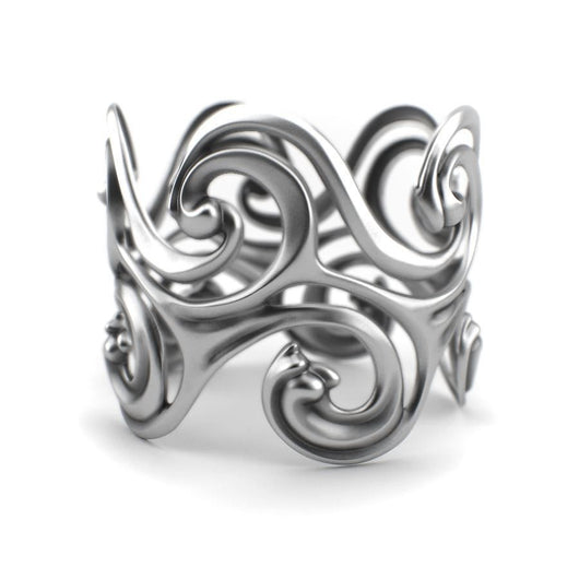 Surf Waves - Sterling Silver Cuff Bangle - Sterling silver Bracelet - Silver jewelry design - PJ3DArtist's Shop
