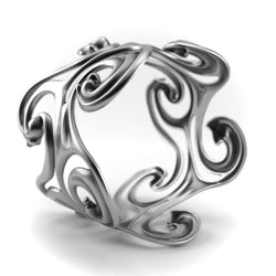 Sterling silver jewelry Bracelet design - Surf Waves - Sterling Silver Cuff Bangle - PJ3DArtist's Shop