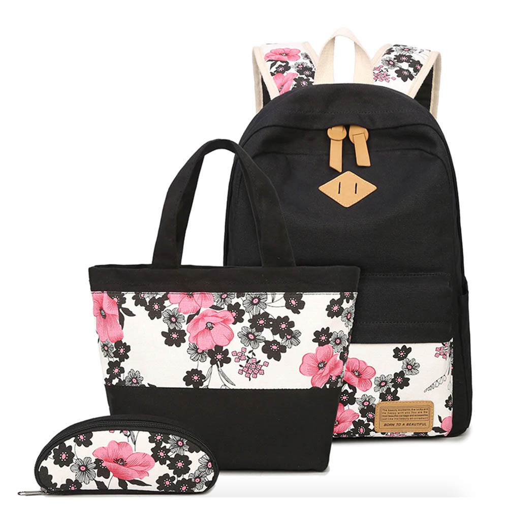 2d913582dc5d School Backpack for Girls - Canvas Backpack for School with Flowers (Set of  3)